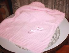 SWEET Knit Baby Doll Blanket For Reborn PASTEL PINK Matches Outfit