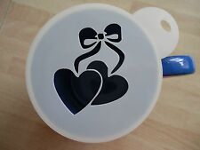 Laser cut hearts bow design coffee and craft stencil