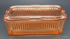 Vintage Federal Glass Ribbed Pink Depression Era Refrigerator Dish
