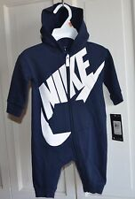NWT $40 Nike Logo Baby Boy Hoodie Bodysuit Romper Clothes Size 9/12 MO Navy blue