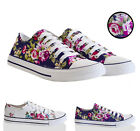WOMENS TRAINERS FLORAL CANVAS SHOES NEW LADIES FLAT PUMPS LACE UP SIZE 3,4,5,6,7