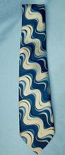 Vintage 70s? Viking Australia Mod Wavy Stripes Blue Cream Tie Necktie Silk? GUC