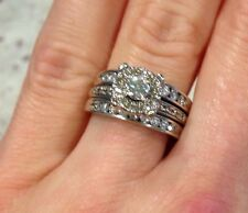 1 Carat Annello Diamond Engagement Wedding Ring Set White Gold Matching Bands
