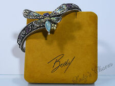 Barbara Bixby STERLING SILVER 18K GOLD Gemstone Dragonfly Hinged Cuff BRACELET