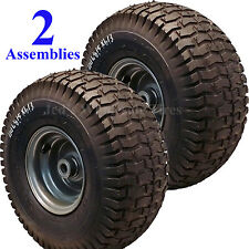 2) 15x6.00-6 15x600-6 15/6.00-6 15/600-6 Lawn Mower Tire Rim Wheel Assembly P34