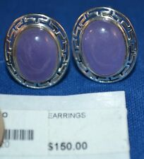 Sterling Silver.925 & Lavender Chrysoprase Cab Earrings w/Omega Style Clasp 5.7g