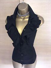 Exquisite Karen Millen Black Ruffle Front Bodycon Shirt Blouse UK12