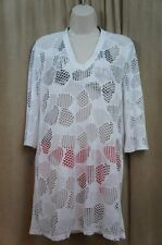 Jordan Taylor Swim Cover Sz S White Mesh V Neck 3/4 Sleeve Top Beack Cover-Up