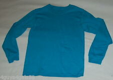 Boys L/S Tee Shirt DARK TURQUOISE / TEAL BLUE Solid Color SIZE L
