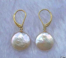 New White Coin Freshwater Cultured Pearl Drop Dangle Leverback Earrings