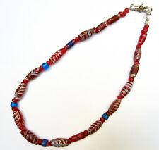Ancien Collier en pâte de verre ancienne de Venise rouge bleu Inde 18e