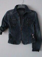 NWOT DKNY ladies S classic sexy blue denim jean jacket blazer zip form-fitting
