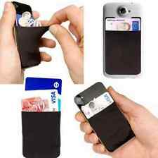 For Cell Phone BLACK Soft Adhesive Sticker Back Cover Card Holder Case Pouch