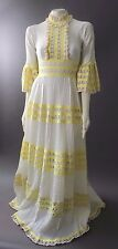 VTG 70s Mexican Ivory LACE BOHO Wedding FESTIVAL Hippie DRESS XS