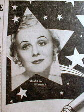 1934 newspaper w photo ad GLORIA STUART movie star played OLD ROSE Movie TITANIC