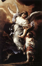 """Huge art Oil painting child The Guardian Angel - Fly with me - Follow me 36"""""""