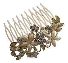 Pick A Gem Wedding Hair Accessories Gold Crystal and Pearl Flower Hair Comb