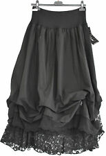 GORGEOUS COTTON  SARAH SANTOS PARACHUTE black LACE TRIM  SKIRT SZ S/M