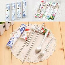 Chinese Style Plastic Case 3 IN1 Stainless Spoon Fork Fold Chopsticks Set