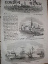 Baltic fleet HMS Arrogane HMS Hecla attack Eckness 1854 old print
