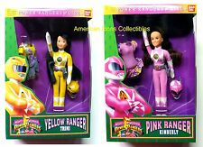 "9"" 2-Doll Set Bandai Pink Kimberly Yellow Trini Morphin Power Rangers Girls 1994"