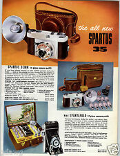 1957 PAPER AD 4 PG Spartus Camera Reflex 35MM Outfits Flash Folding COLOR