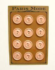 Carte de 12 boutons anciens Rose - 22mm - De marque Paris Mode cousu sur Plaque