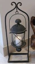 Large Black Hanging Lantern Hurricane Lamp Rustic Shabby Finish Antique Stand