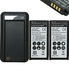 2x 3800mAh Rechargeable Battery + USB Wall Charger for Samsung Galaxy S5 I9600