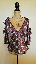 BABY PHAT Cold Shoulder Sleeve Purple  Paisley Shirt Blouse Top Sexy Satin Sz M