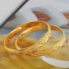 2pcs Real Carved 24k Gold Filled Womens Openable Bangle Bracelet 60mm*10mm