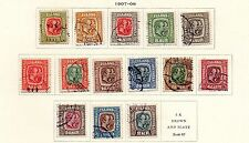 Iceland - Selection from 1907-08 'Two Kings' set. Scott #71-84 USED