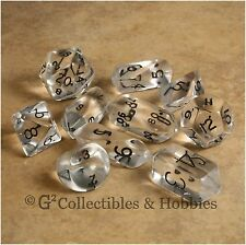NEW 10 Transparent Clear Hybrid RPG D&D Game Dice Set Crystal Caste D3 D4 D20 +