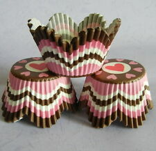 50 pcs CK110 - pink sweet heart brown petals cupcake liners muffin cases