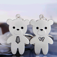 Key Chain 1 Pair Lover Ring Keyfob Keyring Gift Mr & Miss Bear Cute Couple