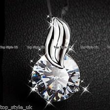 925 Sterling Silver Solitaire CZ Necklace Pendant Xmas Gift Girlfriend Mum Wife