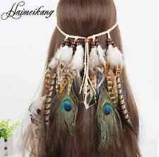 Boho Long Multi Feather Beads Peacock Hair Cuff Headband Hippi Hair Accessories