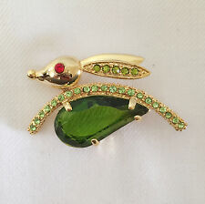 New Furry Green Gold Plated Bunny Jumping Fast Rabbit Brooch Pin Pet Gift BR1134