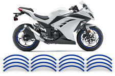 "AMR Racing 17"" Inch Street Bike Rim Trim Sticker Wheel Stripe Vinyl Decals BLUE"