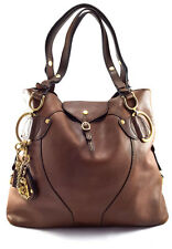 Juicy Couture Brown Leather Women's Shopping Tote Handbag, large