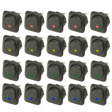 20 X 25mm Round LED Light Rocker Toggle Switch 12V 25A Blue Red Green Yellow