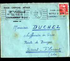 """CHATEAUROUX (36) PEAUX CHIFFONS METAUX """"R. TRICARD"""" Voàyagée en 1951"""