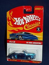 Hot Wheels 2007 Classics Series 3  #5 '40 Ford Convertible Blue w/ WL5SPs