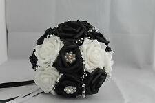 BESPOKE BLACK & WHITE BRIDAL/BRIDESMAIDS BOUQUET**** PEARLS & DIAMANTES****