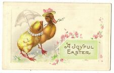 ANTIQUE EASTER FANTASY POSTCARD COSTUMED DUCK CHICK PUSSYWILLOWS UMBRELLA 1919