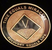 Narcotics Anonymous AA NA BLACK 5 Year Medallion Chip Coin Token Sobriety Sober