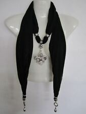 2091 Fashion Design Pendant Scarf with Necklace Shawl Jewelry-Black