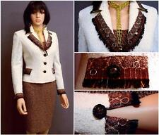 STUNNING ST.JOHN COUTURE KNIT 3PC.SUIT-JACKET,TOP,SKIRT,IVORY/BROWN,FRINGE 2,4 P