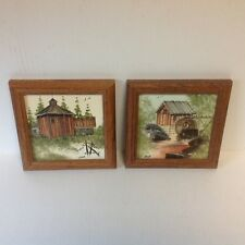 Original Oil On Canvas Board Paintings By Artist JVP Set Of Two Framed