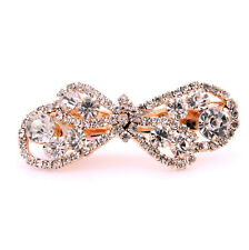 Bridal Gold Bow Knot White Rhinestones Hair Accessories Wedding Clip Pin HA132